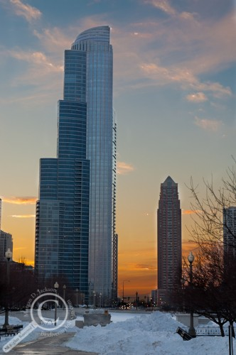 Chicago High Rise at Sunset