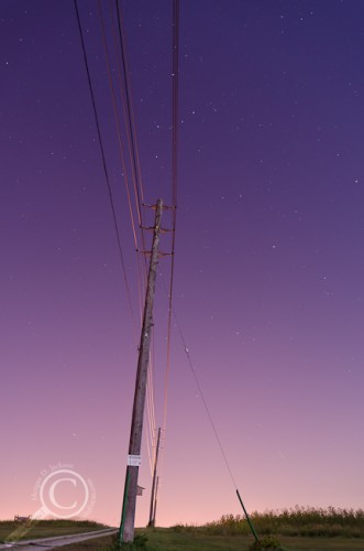 Telephone pole highlighted by full moon and urban light pollution