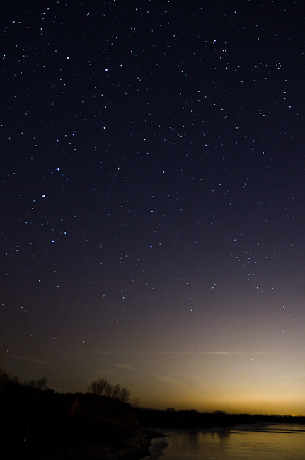 Geminid Meteor over Guelph Lake - Facing East - 2012